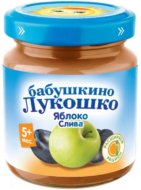 Бабушкино лукошко пюре яблоко/слива 5+ 100г, фото №1