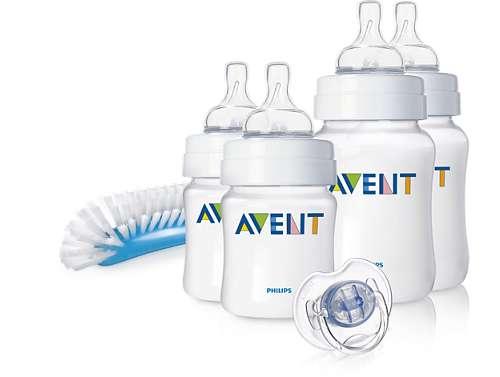 Авент классик набор для новорожденных 2 бут. 125мл + 2 бут.260мл + пустышка + щеточка для мытья бут/сосок 86210 (scd271/00), фото №1
