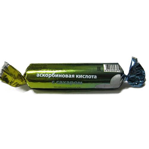 Аскорбиновая кислота эко таблетки с сахаром ананас 10 шт. крутка, фото №1