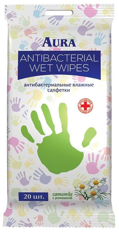 Аура салфетки влажные антибактериальные ромашка 20 шт., фото №1