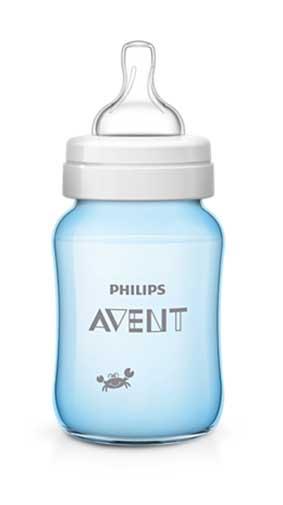 Авент классик плюс бутылочка для кормления крабы 80036 (scf573/14) голубая 260мл, фото №1
