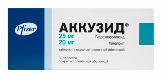 Аккузид 20мг+25мг 30 шт. таблетки покрытые пленочной оболочкой, фото №1