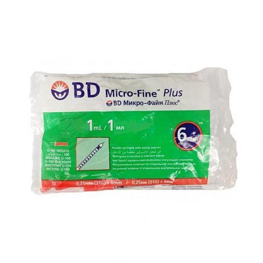 Бектон дикинсон микро-файн плюс шприц инсулиновый 1мл u-100 с иглой 31g (0,25х6мм) 10 шт., фото №1