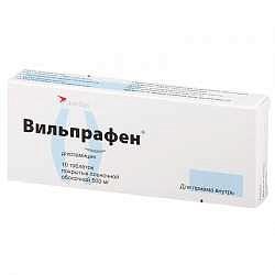 Вильпрафен 500мг 10 шт. таблетки покрытые пленочной оболочкой