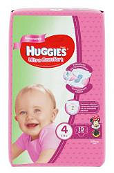 Хаггис ультра комфорт подгузники для девочек 4 (8-14кг) 19 шт.