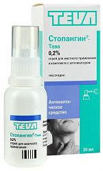 Стопангин-тева 0.2% 30мл спрей для местного применения