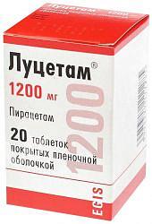 Луцетам 1200мг 20 шт. таблетки покрытые пленочной оболочкой