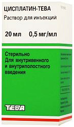 Цисплатин-тева 0,5мг/мл 20мл концентрат для приготовления раствора для инфузий