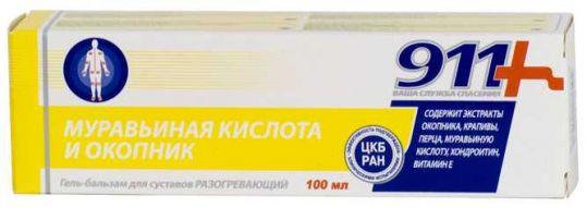 911 муравьиная кислота гель-бальзам для суставов 100мл, фото №1