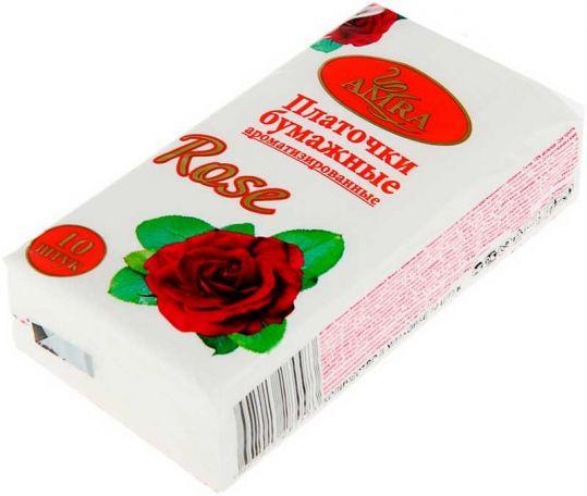 Амра платочки бумажные роза 10 шт., фото №1