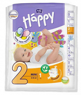 Белла беби хеппи подгузники мини 3-6кг 1 шт.