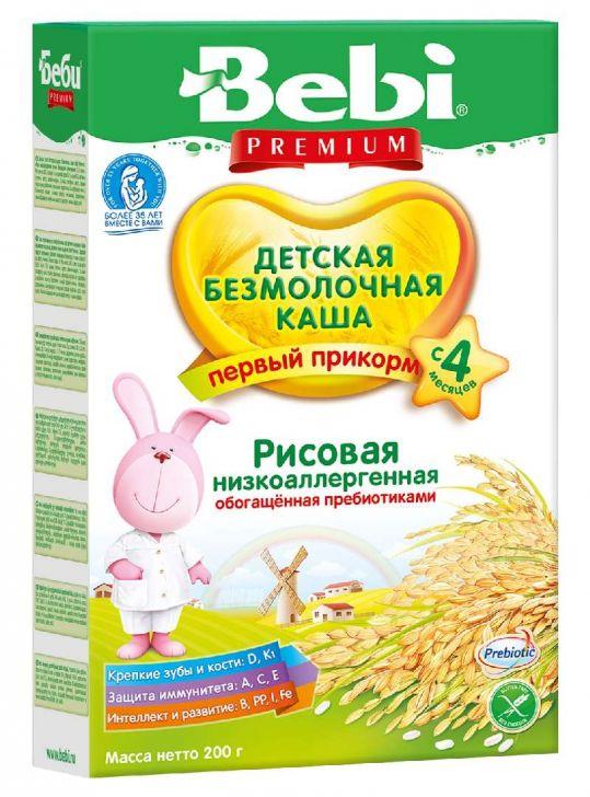 Беби премиум каша безмолочная рисовая низкоаллергенная с пребиотиками 4+ 200г, фото №1