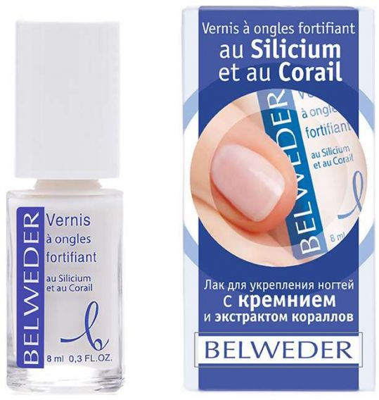 Бельведер лак для укрепления ногтей с кремнием и экстрактом кораллов 8мл, фото №1
