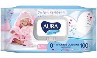 Аура ультра комфорт салфетки влажные для детей 100 шт.