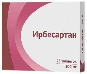 Ирбесартан 300мг 28 шт. таблетки покрытые пленочной оболочкой