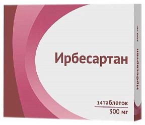 Ирбесартан 300мг 14 шт. таблетки покрытые пленочной оболочкой