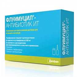 Флуимуцил-антибиотик ит 500мг 3 шт. лиофилизат для приготовления раствора для инъекций и ингаляций с растворителем