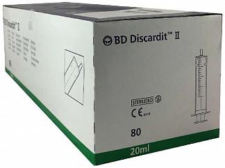 """Бектон дикинсон дискардит шприц двухкомпонентный 20мл с иглой 21g 1 1/2"""" (0,8x40мм) 80 шт."""
