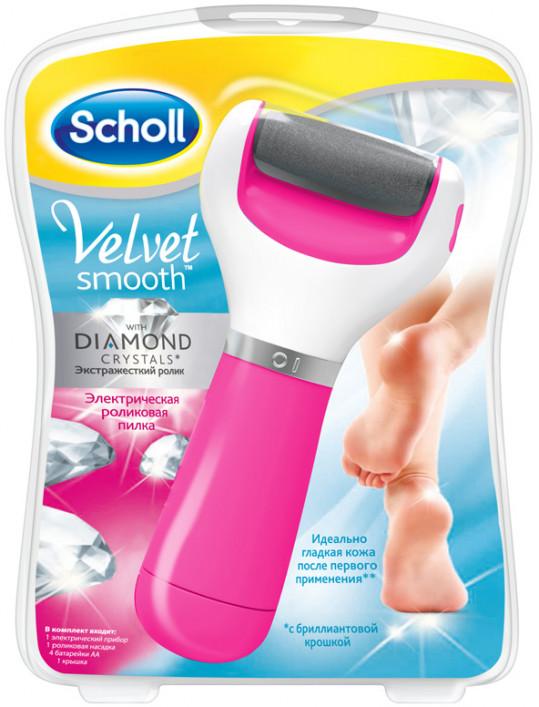 Шолл вельвет смус пилка электрическая роликовая с бриллиантовой крошкой (розовая), фото №1