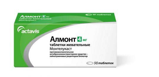 Алмонт 4мг 98 шт. таблетки жевательные, фото №1