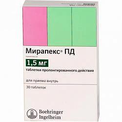 Мирапекс пд 1,5мг 30 шт. таблетки пролонгированного действия