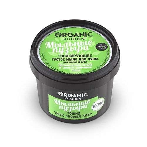 Органик шоп китчен мыло густое для волос/тела тонизирующее мыльные пузыри 100мл, фото №1