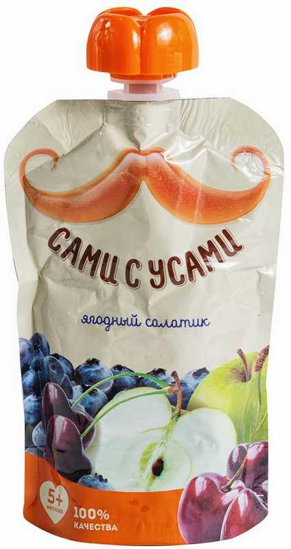 Сами с усами пюре-салатик яблоко/вишня/черника 5+ 100г, фото №1