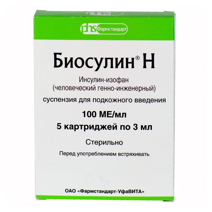 БИОСУЛИН Н суспензия для подкожного введения 100 МЕ/мл 5 шт.