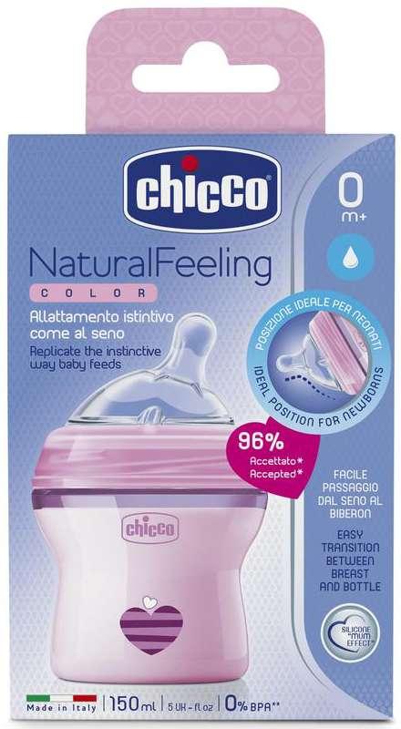 Чикко нейчерал филинг бутылочка + соска силиконовая с наклоном и флексорами розовая 0+ 150мл, фото №1