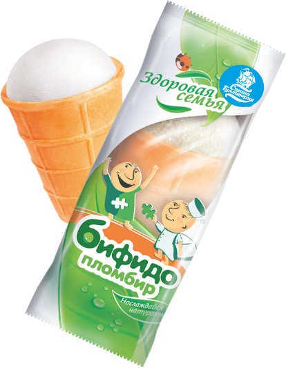 Биомороженое здоровая семья бифидо пломбир 90г вафельный стаканчик, фото №1