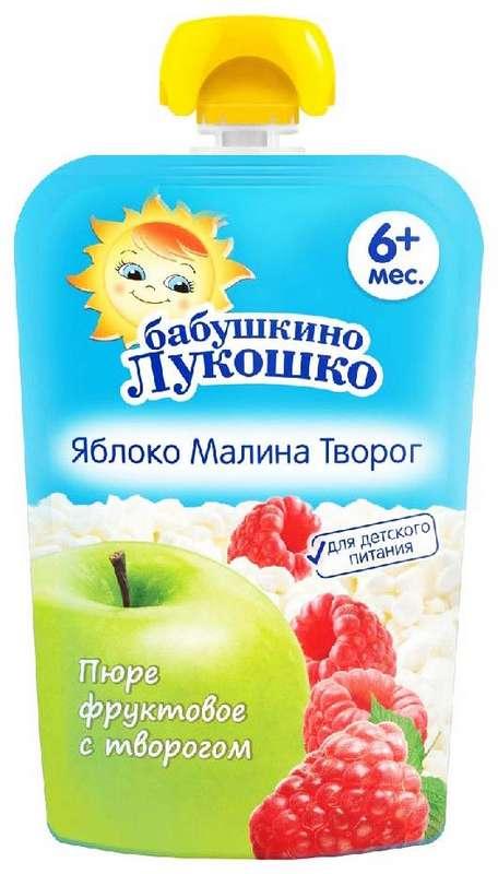 Бабушкино лукошко десерт творожный яблоко/малина/творог 6+ 90г, фото №1