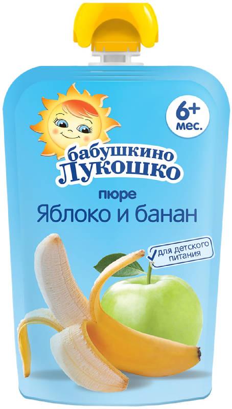 Бабушкино лукошко пюре яблоко/банан 5+ дой-пак 90г, фото №1