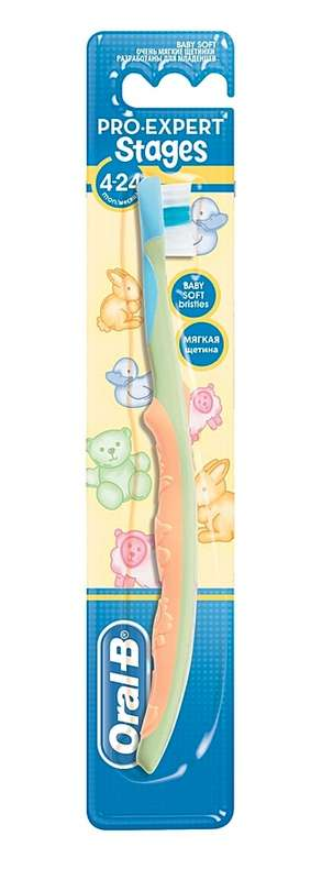 Орал-би зубная щетка детская stages 1 мягкая 4-24 месяцев, фото №1