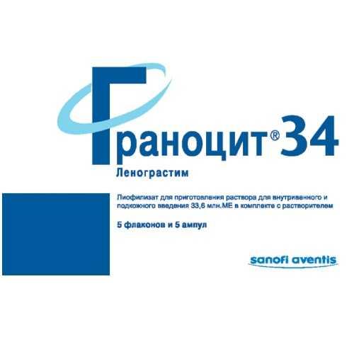ГРАНОЦИТ 34 33,6млн.МЕ 5 шт. лиофилизат для приготовления раствора для внутривенного и подкожного введения с растворителем