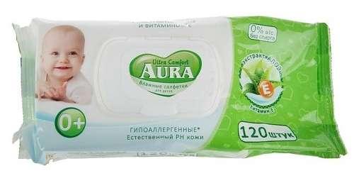 Аура ультра комфорт салфетки влажные для детей алоэ/витамин е 120 шт., фото №1