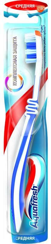 Аквафреш комплексная защита зубная щетка средняя, фото №1