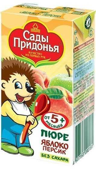 Сады придонья пюре яблоко/персик без сахара 5+ 125мл, фото №1