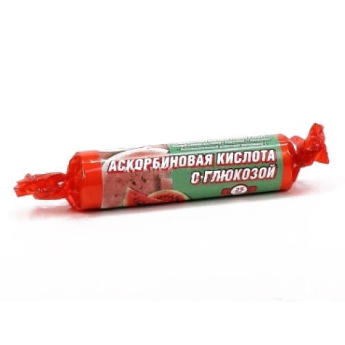 Аскорбиновая кислота с глюкозой гленвитол таблетки 25мг арбуз 10 шт. крутка, фото №1