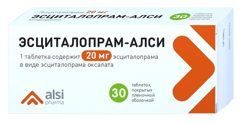 ЭСЦИТАЛОПРАМ-АЛСИ таблетки 20 мг 30 шт.