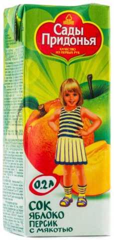 Сады придонья сок яблоко/персик с мякотью 5+ 200мл, фото №1