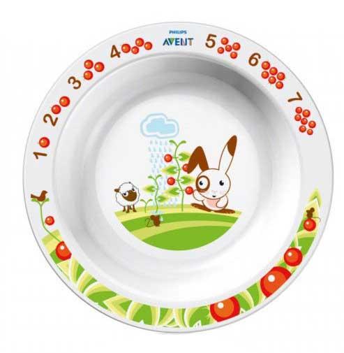 Авент тарелка для кормления глубокая большая с 12 месяцев 65620 (scf704/00) белая, фото №1