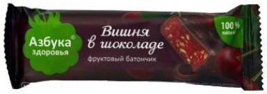 Азбука здоровья батончик вишневое желе в шоколаде, фото №1
