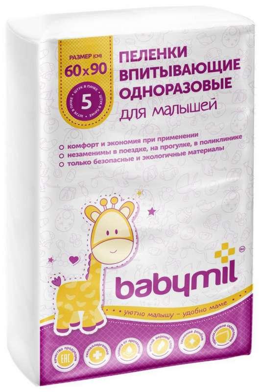 Бэбимил пеленки впитывающие для малышей 60х90 5 шт., фото №1