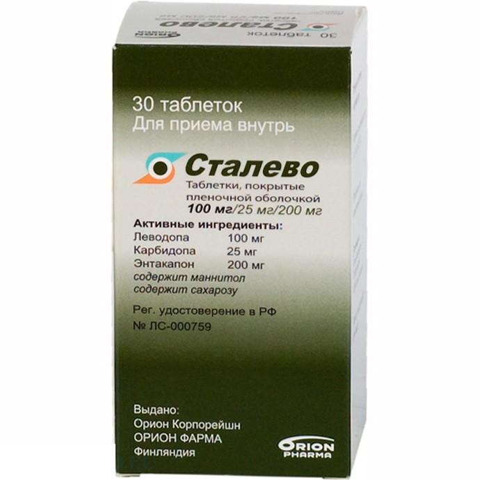 СТАЛЕВО таблетки 100 мг+25 мг+200 мг 30 шт.