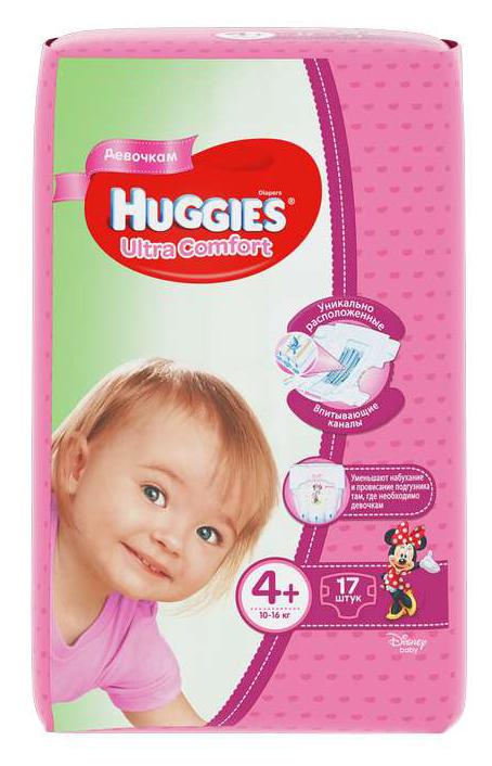 Хаггис ультра комфорт подгузники для девочек 4+ (10-16кг) 17 шт., фото №1