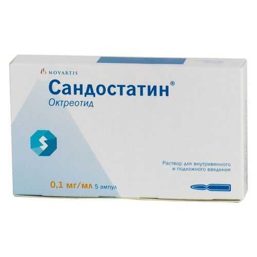 Сандостатин 0,1мг/мл 1мл 5 шт. раствор для внутривенного и подкожного введения, фото №1