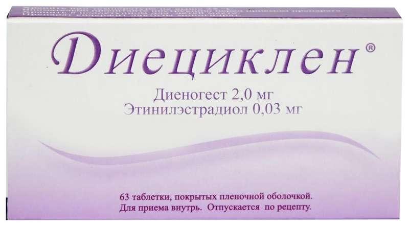 ДИЕЦИКЛЕН таблетки 2 мг+30 мкг 63 шт.