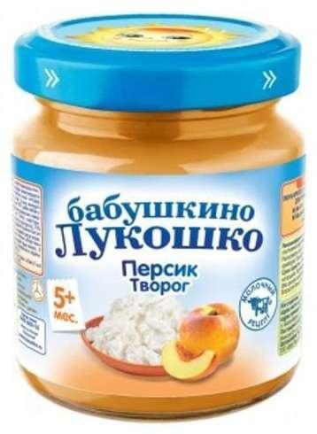 Бабушкино лукошко пюре персик/творог 5+ 100г, фото №1