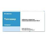 Топсавер 100мг 28 шт. таблетки покрытые пленочной оболочкой, фото №1