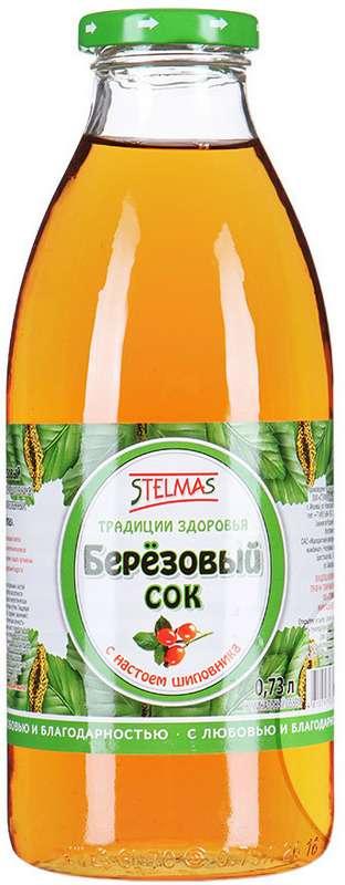 Стэлмас сок березовый с шиповником 0,73л упаковка, фото №1